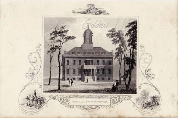 City Hall Augusta Georgia Original Steel-Plate Print Circa 1850