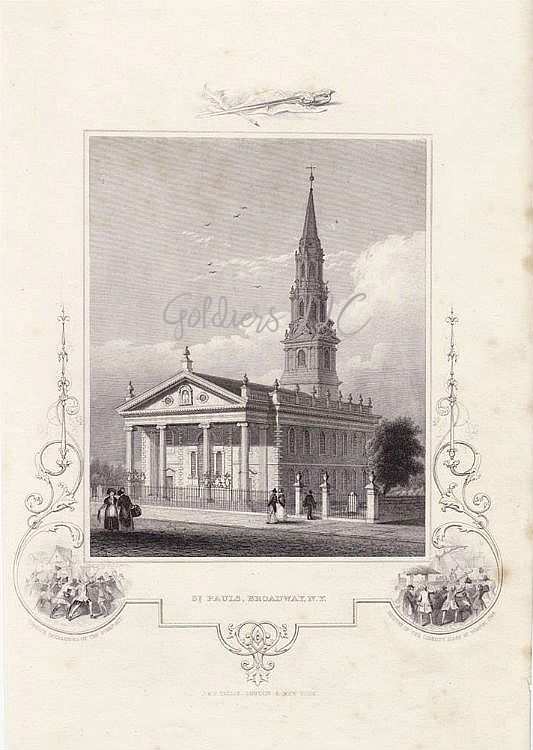 Engraving of Saint Paul's Broadway New York