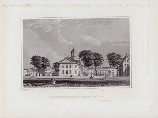 Harvard University Cambridge Massachusetts by Davis 1846.