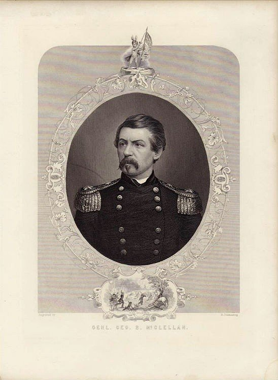 Portrait of Civil War General George B McClellan Original Engraving 1878