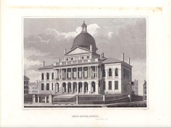 State House, Boston. Drawn by A J Davis.