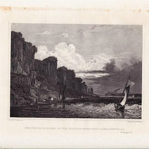 The Palisade Rocks on the Hudson River West Bank New York Original Engraving
