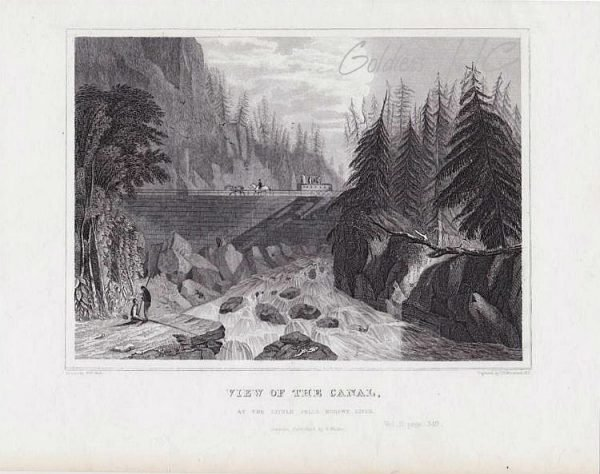 View of the Canal at the Little Mohawk River Original Engraving 1846