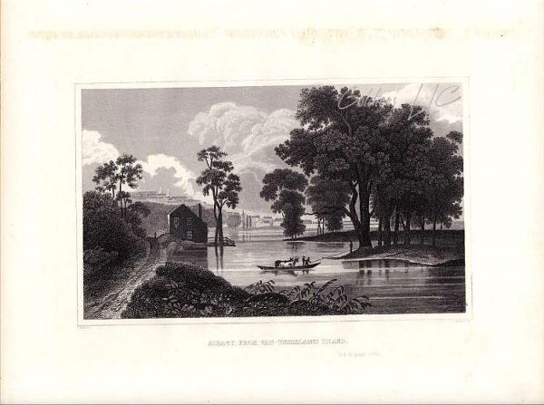 Albany From Van-Unsselaens Island New York State Drawn by C H Billings 1846.
