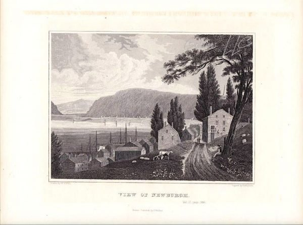 View of Newburgh New York State Drawn by William G Wall Engraving 1846